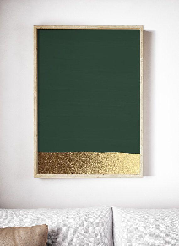 Dark Green Art Print Hunter Green Print Green And Gold Prints Modern Art Print Green Painting Abstract Art Green Wall Art Green Art Print Gold Art Print