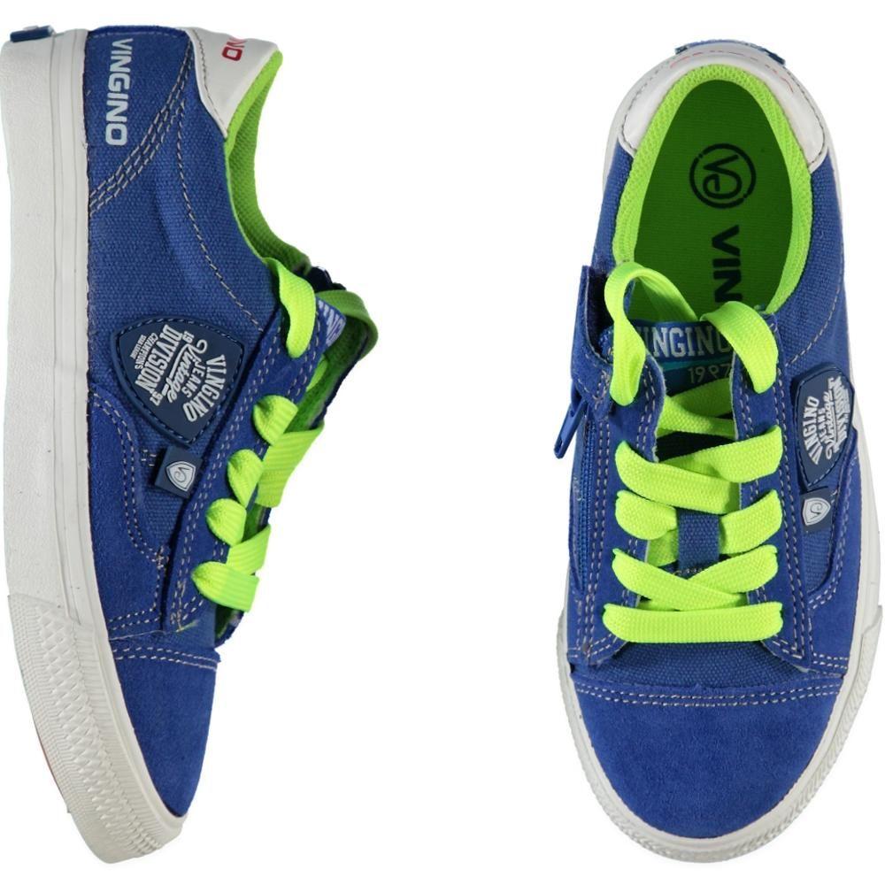 Blauwe Sneaker Model Dave Met Neon Gele Vetersluiting Van Vingino Sneakers Vingino Sneakers Nike