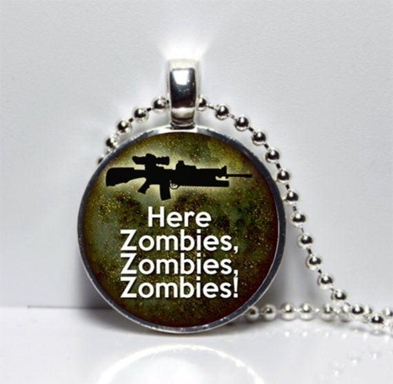 Here Zombies Zombies Zombies Round Tile Pendant by Pendantmonium, $6.00
