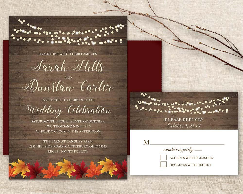 Fall Wedding Invitatio Rustic Autumn wedding invitation Set Fall ...