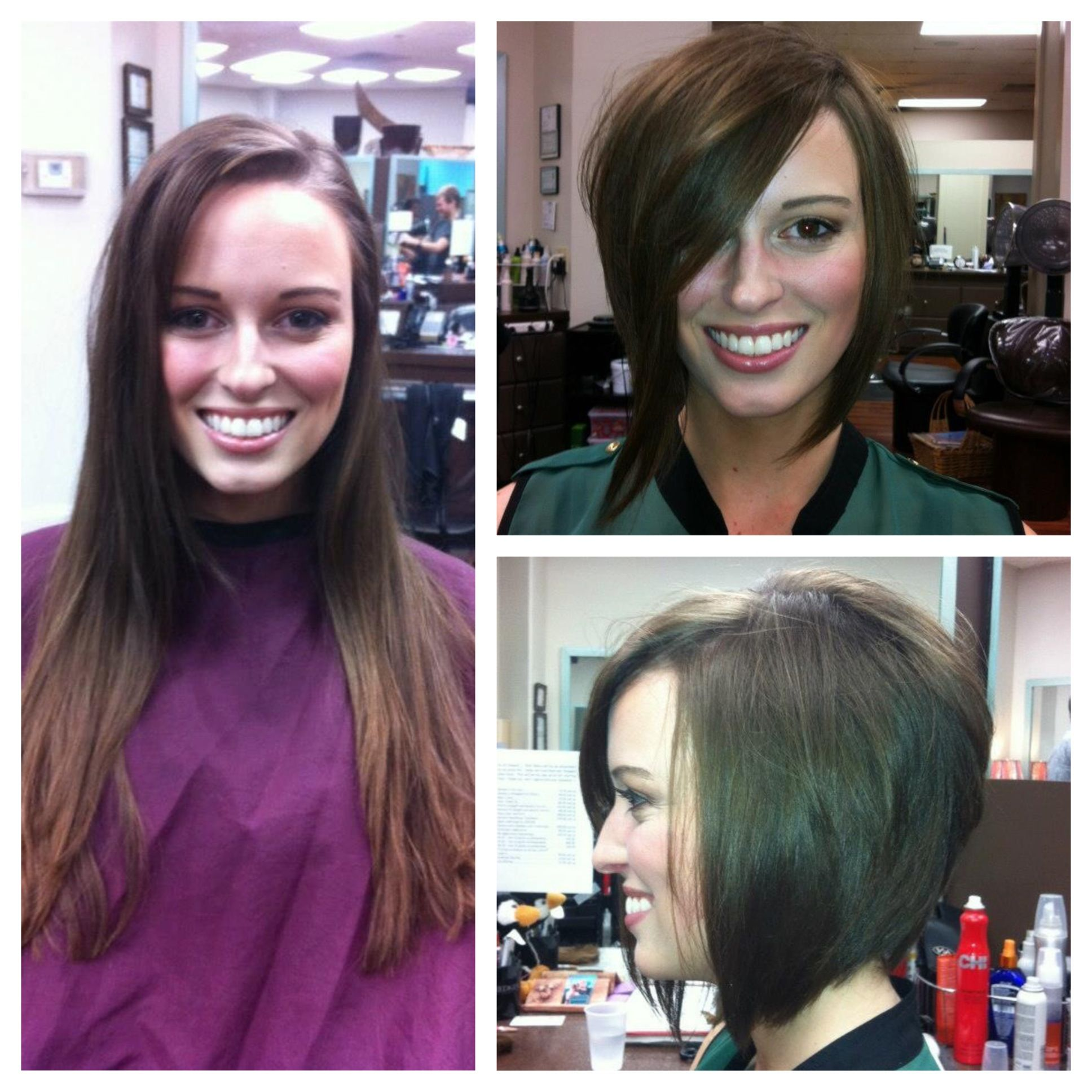 Before And After Haircut Cute Angled Stacked Textured Bob Makeover Lex Moore Style House Salon Before And After Haircut Hair Makeover Long To Short Hair