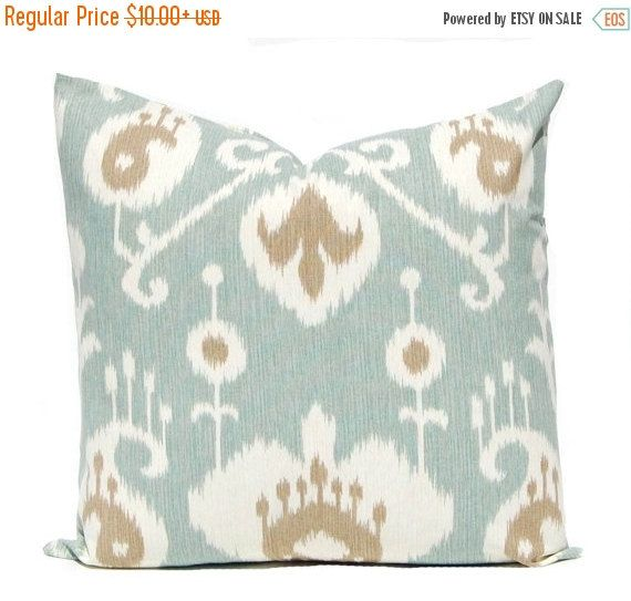 One Gorgeous Pillow Cover In A Sea Foam Green Ikat Print With