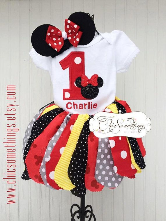Fabric Tutu TEA WITH Minnie birthday red tutu by ChicSomethings