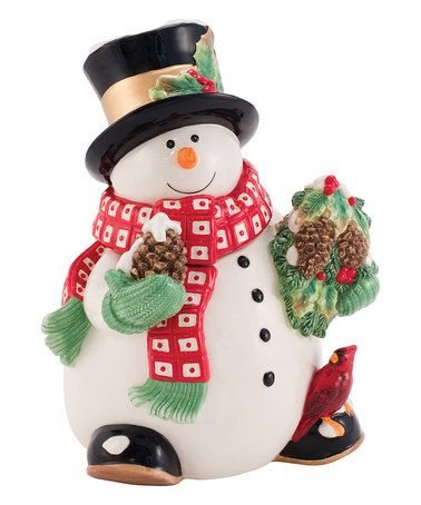 Holly Berry Snowman Cookie Jar #zulily #zulilyfinds