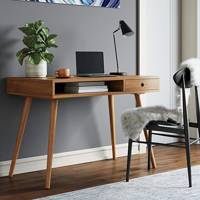 Amazonsmile Nathan James Parker Modern Home Office Writing Computer Or Laptop Desk With Ope In 2020 Modern Home Office Desk Small Home Office Desk Small Writing Desk