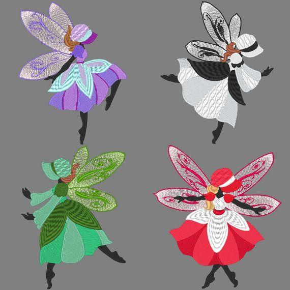 SUNBONNET FAIRIES -- 30 Machine Embroidery Design Pack (AzEB)