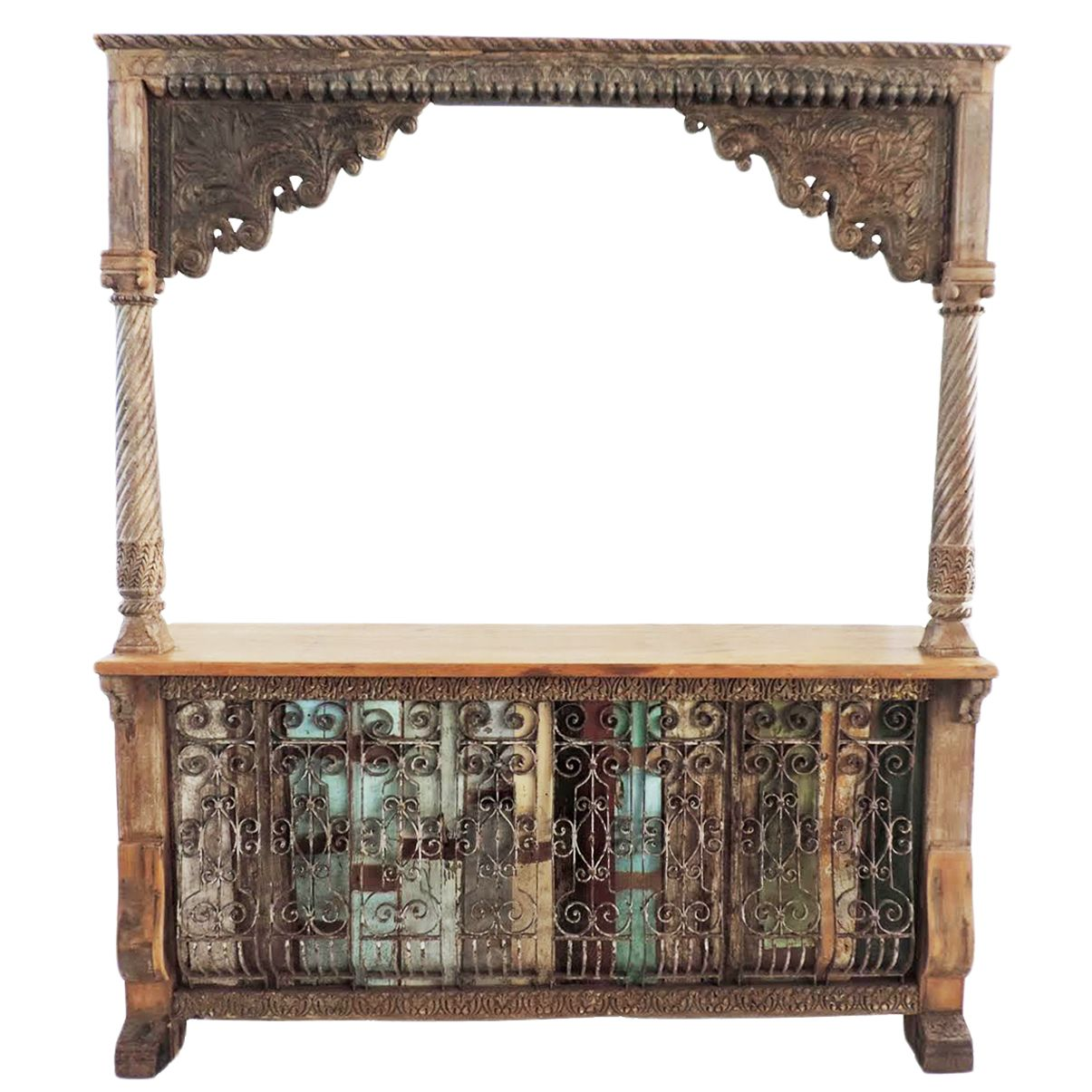 Unique Old Indian Architectural Carved Wood Bar With Beautiful Carving All Over And Iron Scroll Work Detail O Bar Furniture Boho Chic Interior Design Furniture