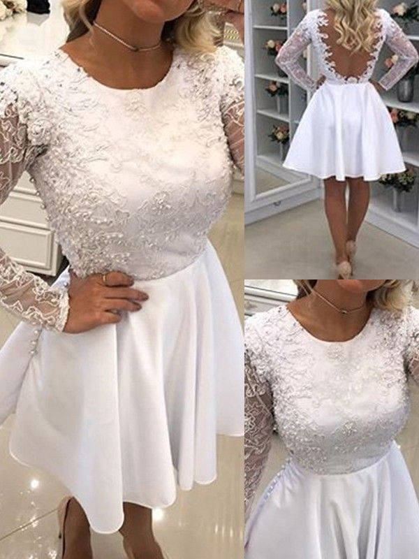 White Patchwork Lace Draped Backless Cocktail Party Long Sleeve Mini Dress #backlesscocktaildress