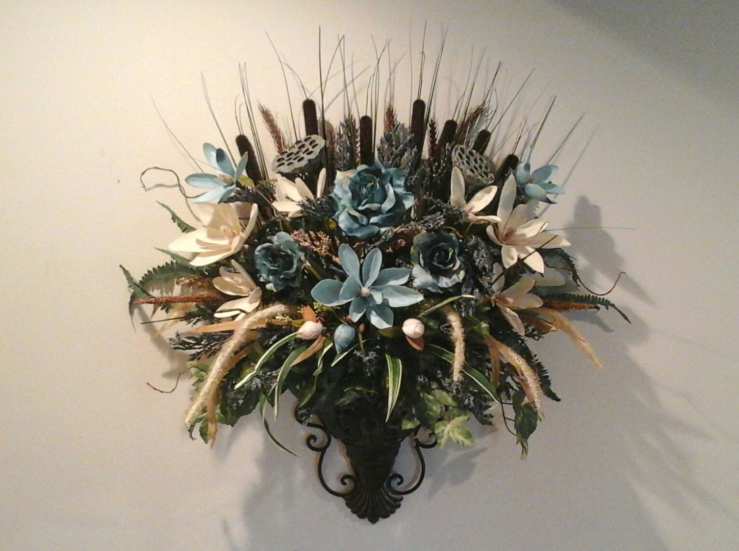Floral Wall Sconce, Wall Arrangement, SHIPPING INCLUDED ... on Pocket Wall Sconce For Flowers id=88282