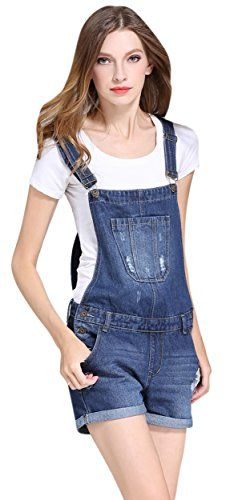 e544b2f41b20 Womens Cute Denim Shorts Distressed Cowboy Jumpsuit Jeans Bid Overall  Shortalls US 6 Blue   You can find out more details at the link of the  image.