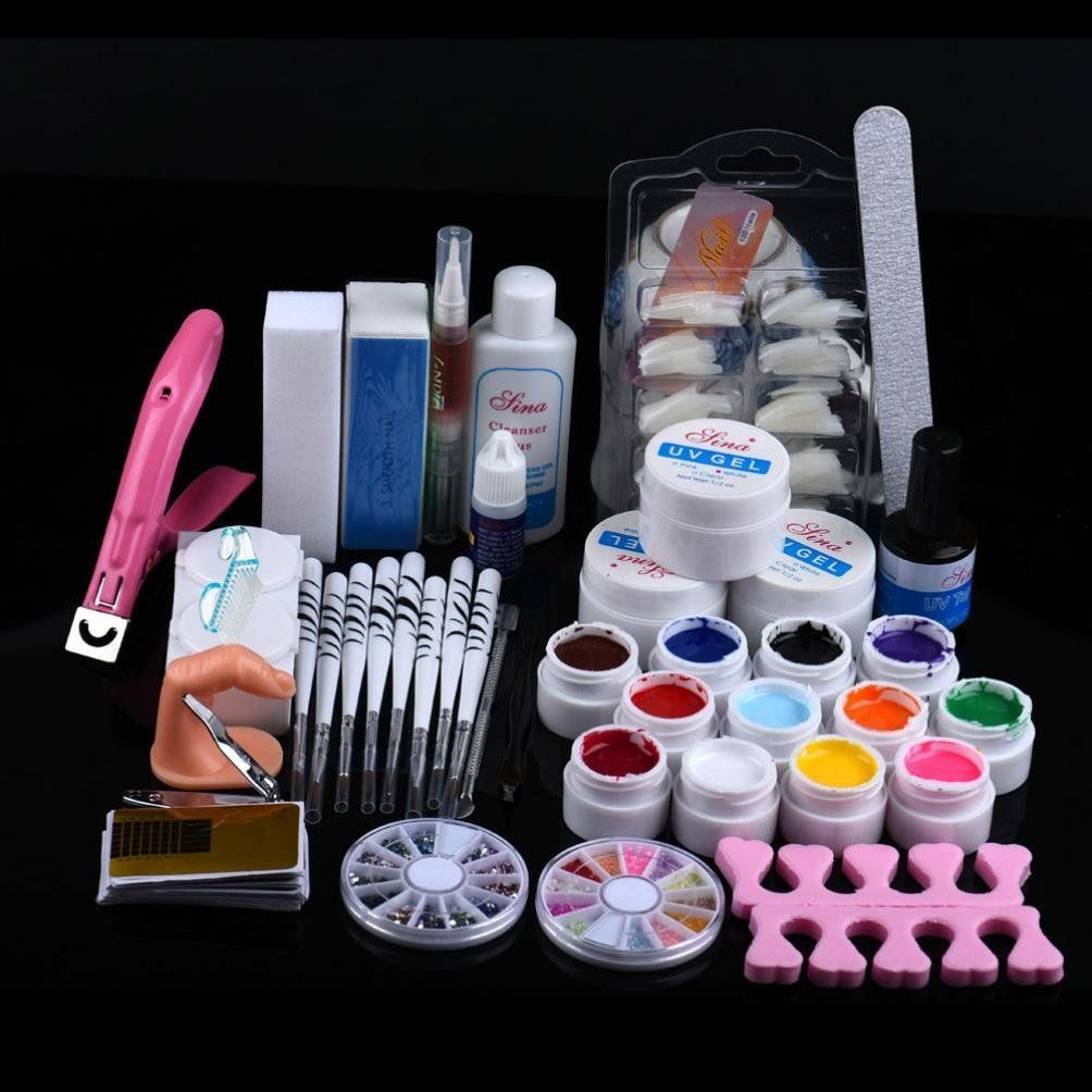 AutumnFall 24 in 1 Combo Set Professional DIY UV Gel Nail Art Kit Brush Buffer Tool Nail Tips Glue Acrylic Set * Want additional info? Click on the image.