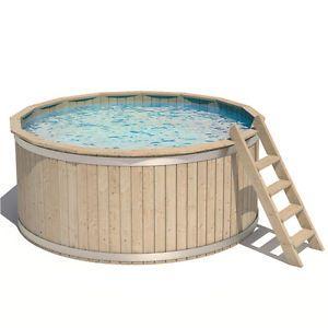 Dettagli su ISIDOR Piscina rotonda in Legno Vasca Nuotare
