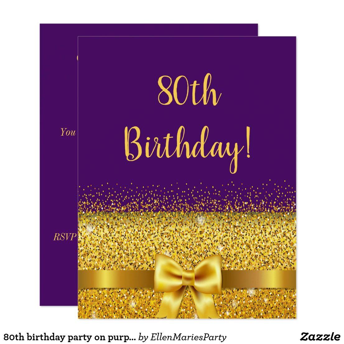 80th birthday party on purple gold bow sparkle invitation happy 80th birthday party on purple gold bow sparkle invitation elegant classic glamorous and feminine stopboris Gallery