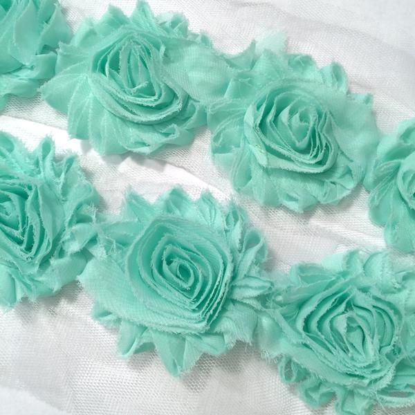 "1 yard black 2.5/"" shabby chiffon rose trim fabric flowers DIY baby headbands"