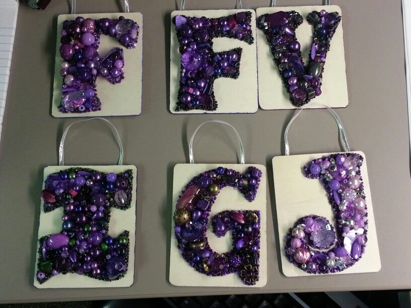 Small bead letters purple