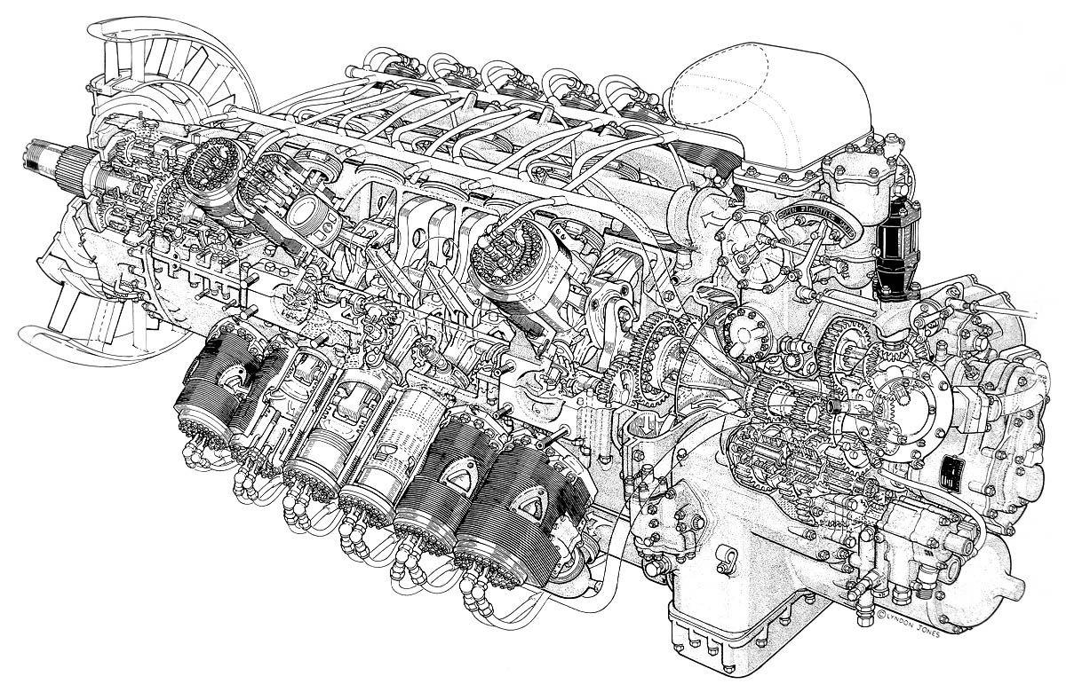 rolls royce pennine джонс cutaway моторы rolls royce engine and cutaway