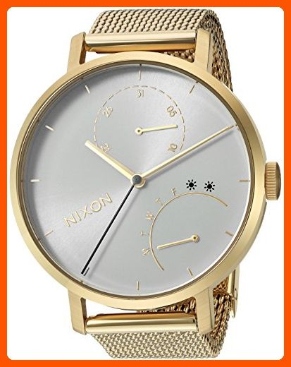 Nixon Women's 'Clutch' Quartz Stainless Steel Casual Watch, Color:Gold-Toned (Model: A1166504-00) - All about women (*Amazon Partner-Link)