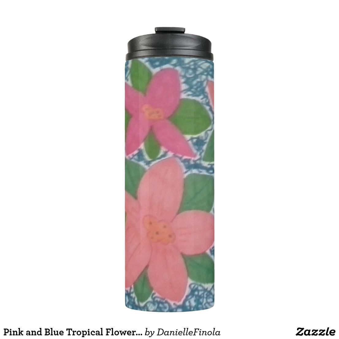 Pink And Blue Tropical Flowers Pattern Tumbler Home Pinterest