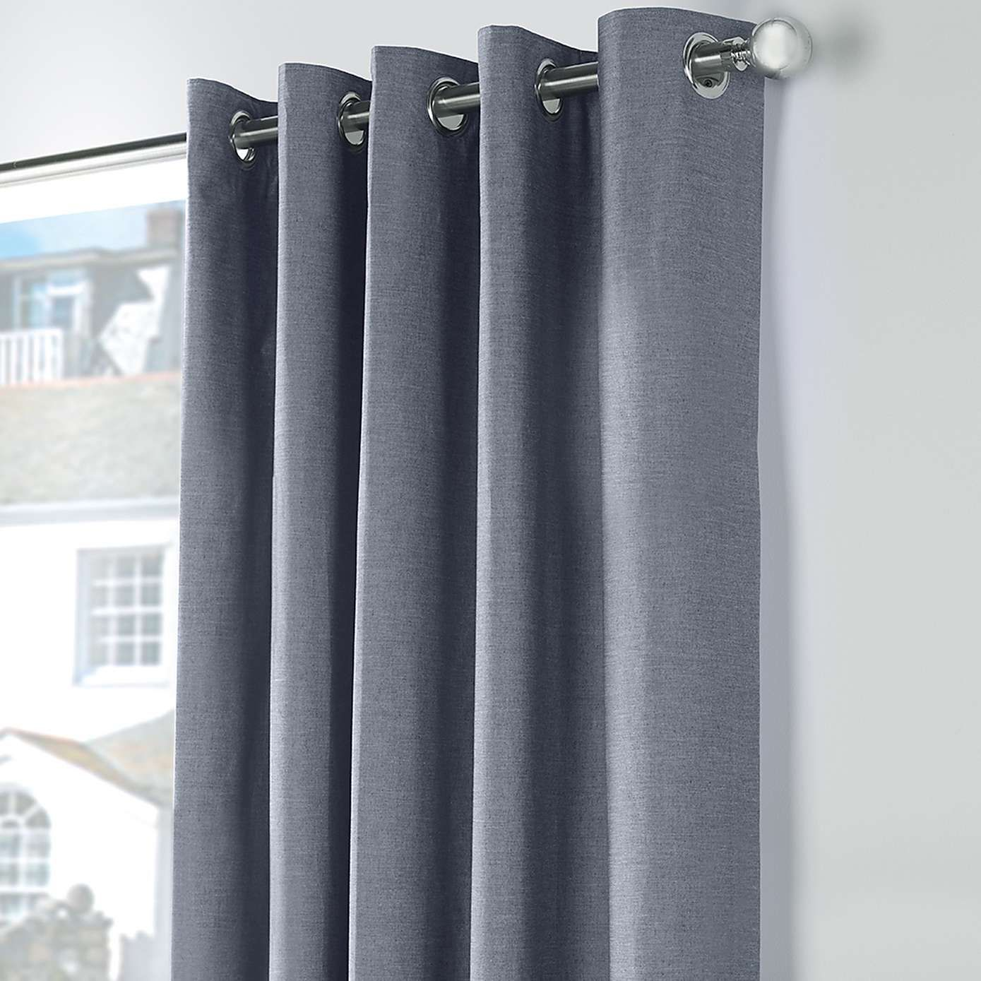 Chambray Blue Thermal Eyelet Curtains Curtains Thermal Curtains Curtains Dunelm