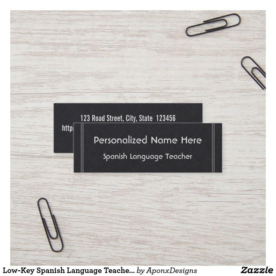 Low Key Spanish Language Teacher Business Card Zazzle Com