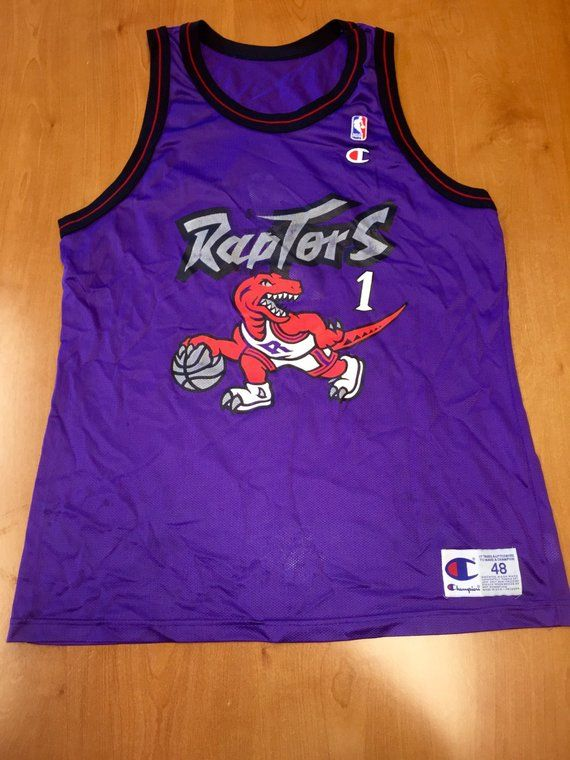 eb72cdcba15 Vintage 1994 Expansion Draft Day Toronto Raptors Jersey Size 48 damon  stoudamire hakeem olajuwon dem