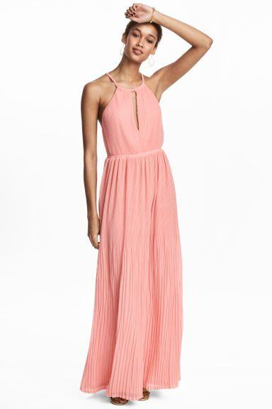 1ffb53bff7 Długa sukienka plisowana - Jasnoróżowy - ONA