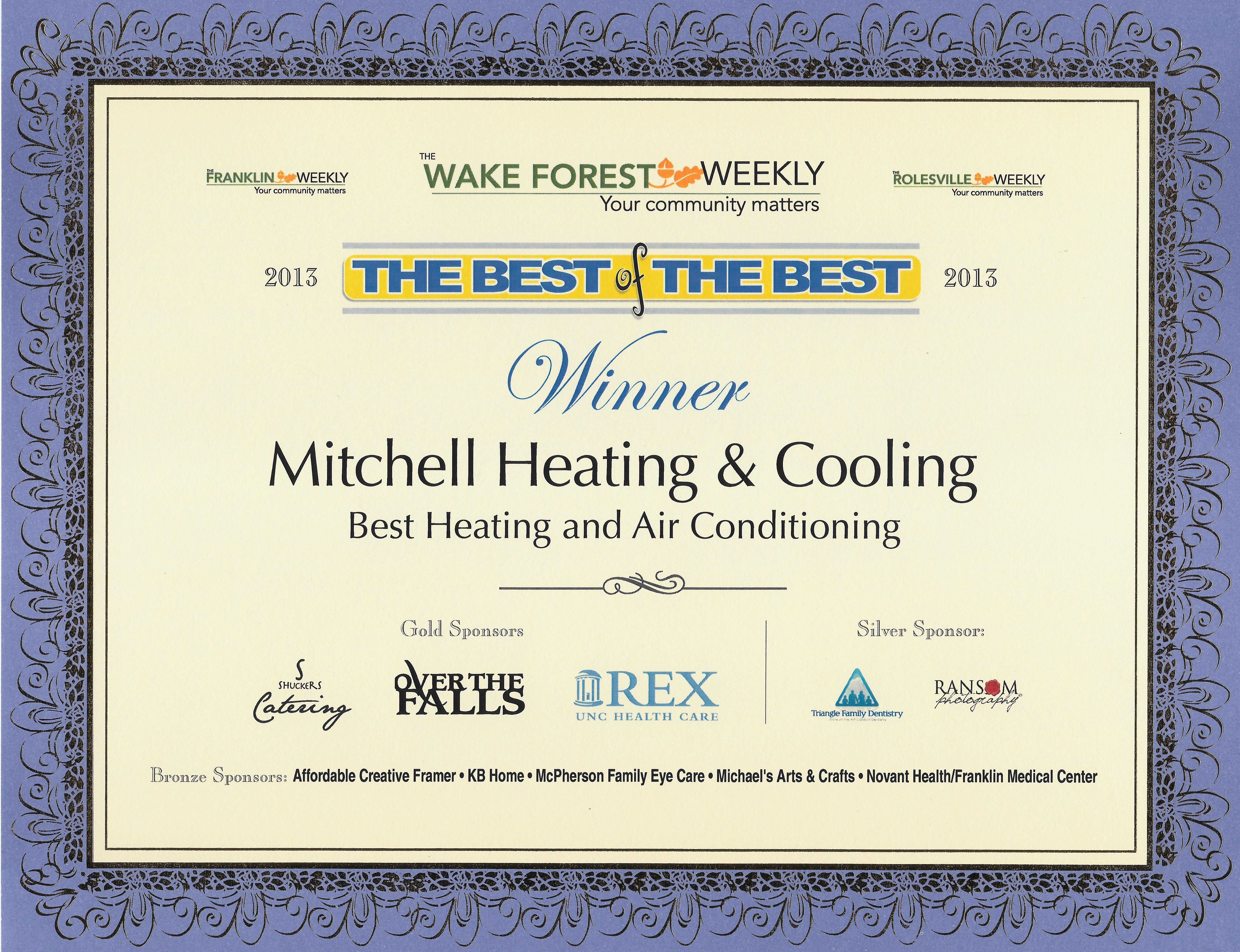 For The Second Year In A Row Mitchell Heating Cooling Has Been