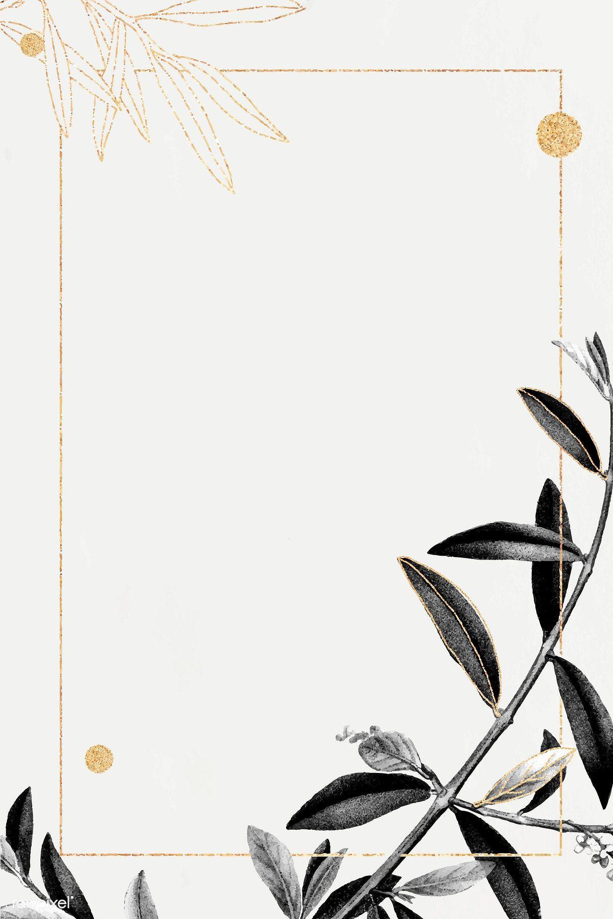 Download Premium Vector Of Rectangle Gold Frame With Olive Branch Pattern Olive Branch Floral Border Design Gold Frame