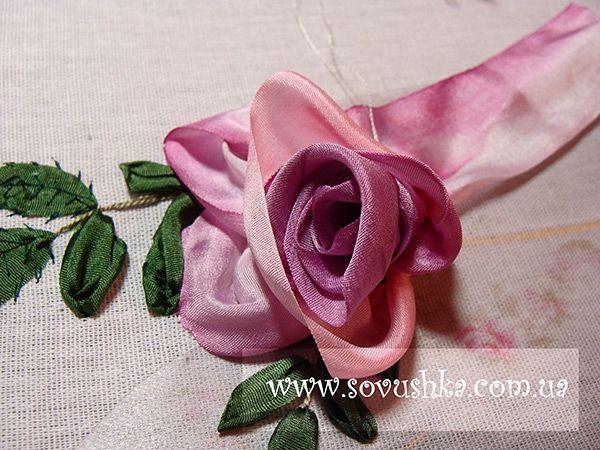 Stitching Ribbon Rose Sre Techniques Pinterest Ribbon