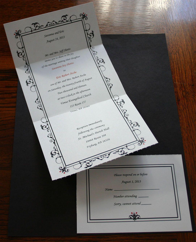 Self-Mailer Wedding Invitation- Tear off response card, stamp ...