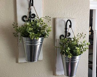 Galvanized Metal Hanging Planter with Greenery or Flowers ... on Wall Sconces For Greenery Decoration id=23403