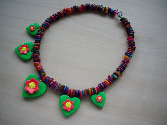 Bright Coloured Shell Necklace with Floral Heart Drops. £17