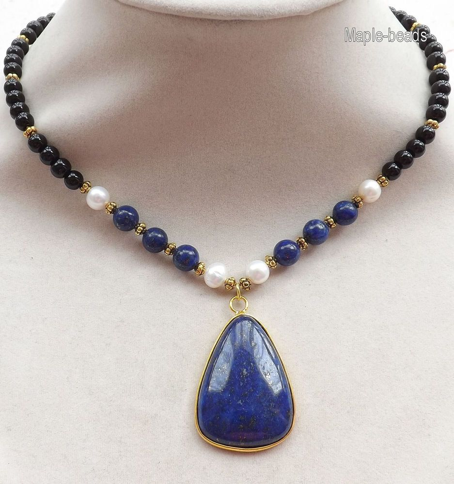 Every day jewelry-Blue Lapis Lazuli gemstone pendant,Onyx beads,Pearls necklace #Handmade #Pendant