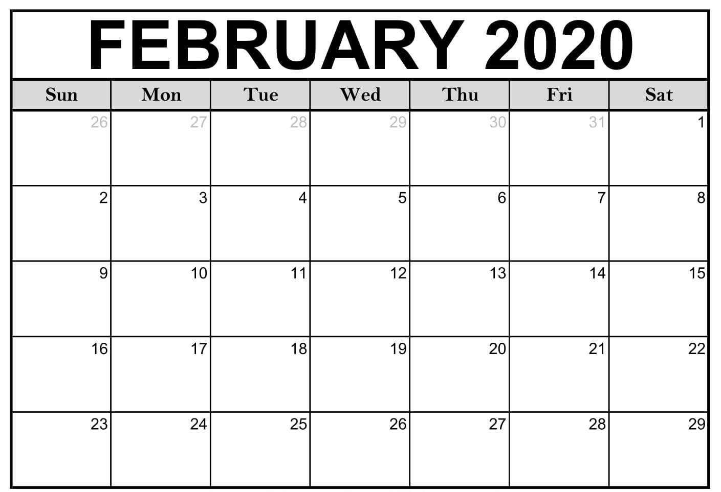 February 2020 Blank Calendar Printable Templates With Notes In