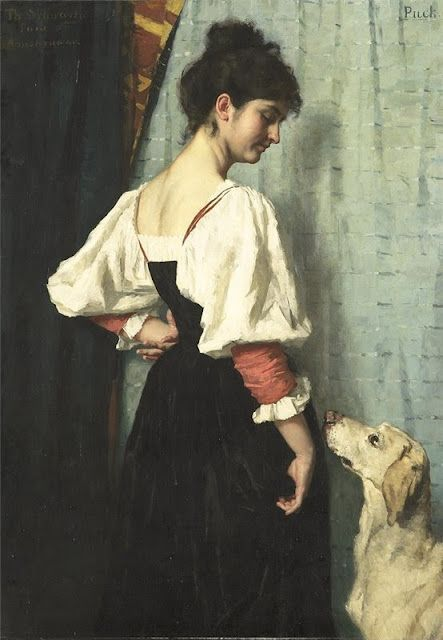 Young Woman with a Dog Called Puck, Thérèse Schwartze