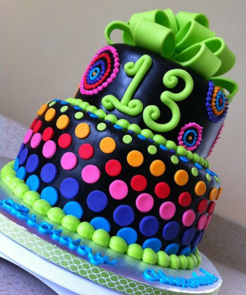 Birth Day Cake Ideas For Teens Girls Psychedelic Rainbow