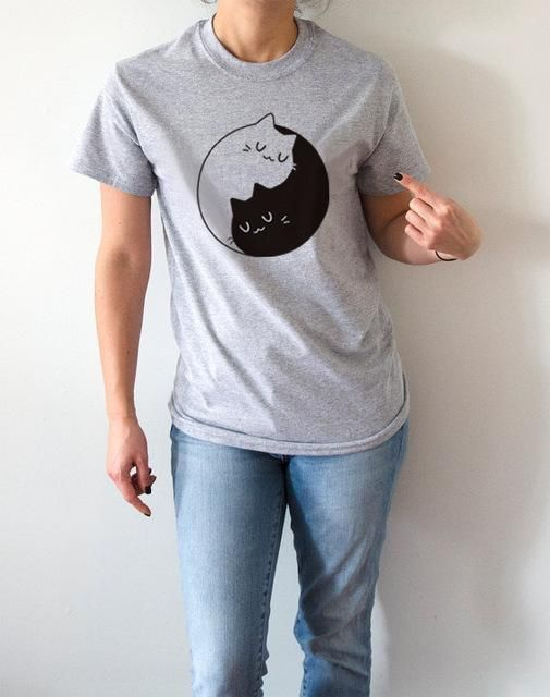 Yin Yang Kitteh Print Tee Shirt Sizes Up To 4xl Tee Womens