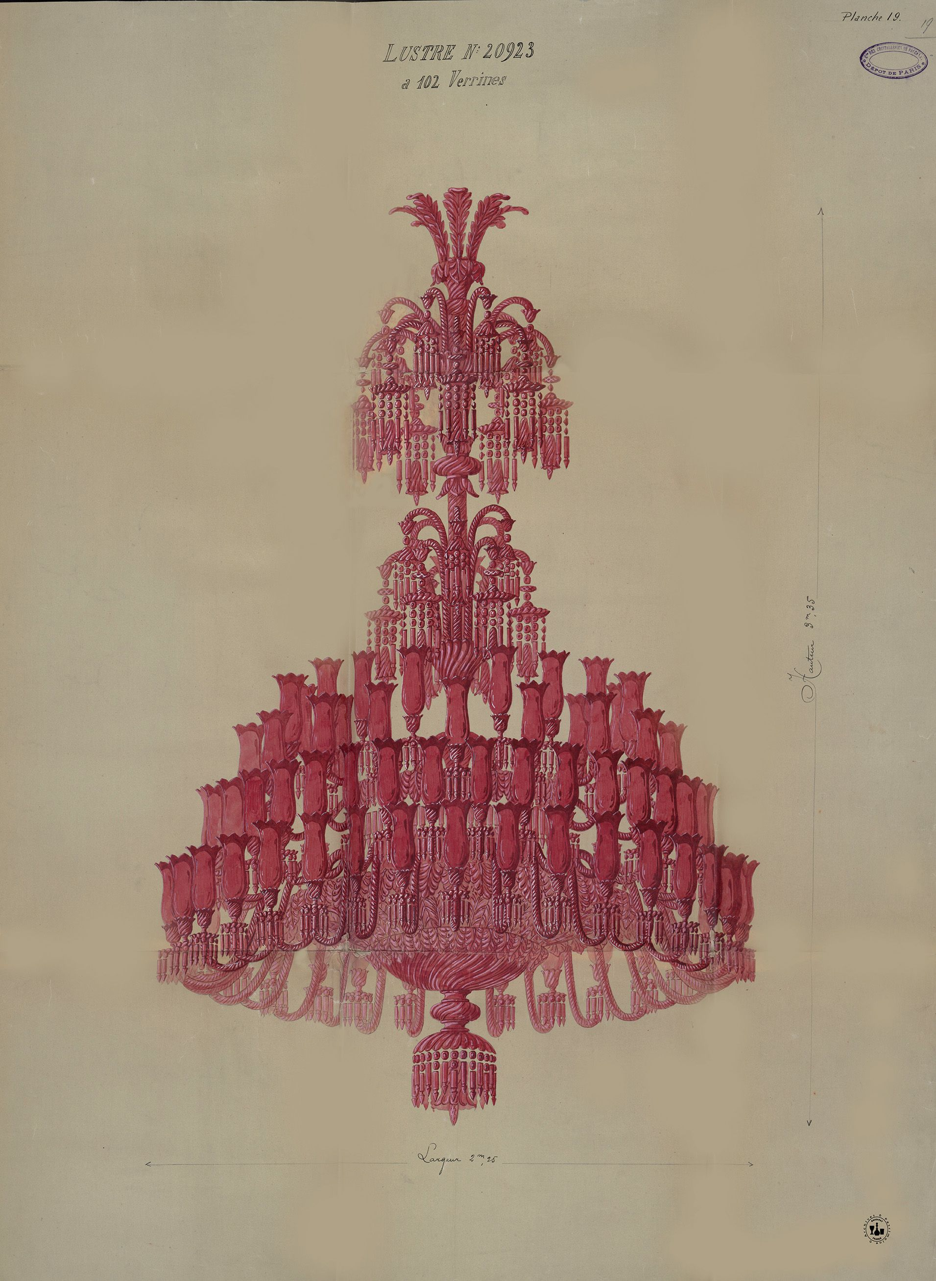 Archive Drawing For A Ruby Red Chandelier Baccarat