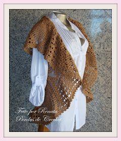 Pérolas do Crochet  Colete de Croche modelo circular também para gestantes 1eed2b274b135