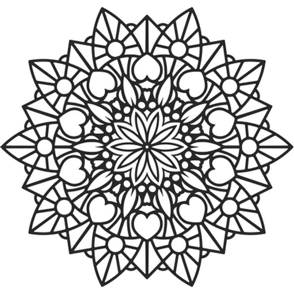 Coloriage Mandala fleur et coeur en Ligne Gratuit à imprimer ...
