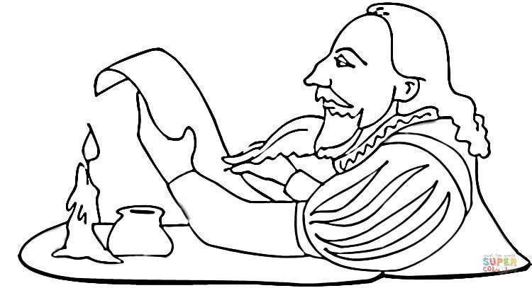 Shakespeare Is Writing A Play Super Coloring Shakespeare