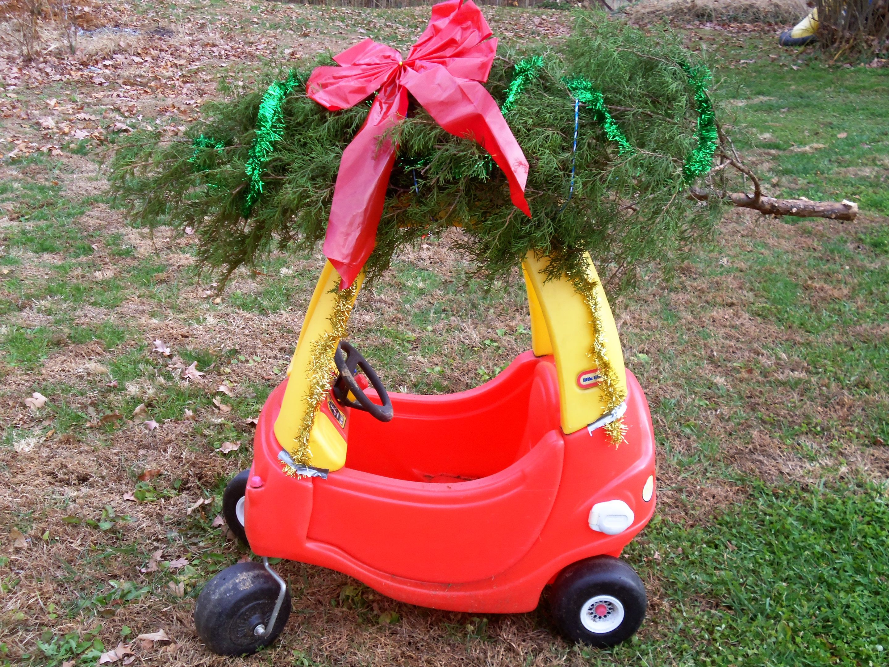 Cozy Coupe Car With Christmas Tree