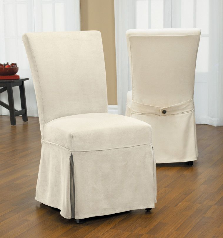 Source  Via  Skirted White Fabric Slipcover For Formal Adorable Fabric Chair Covers For Dining Room Chairs 2018