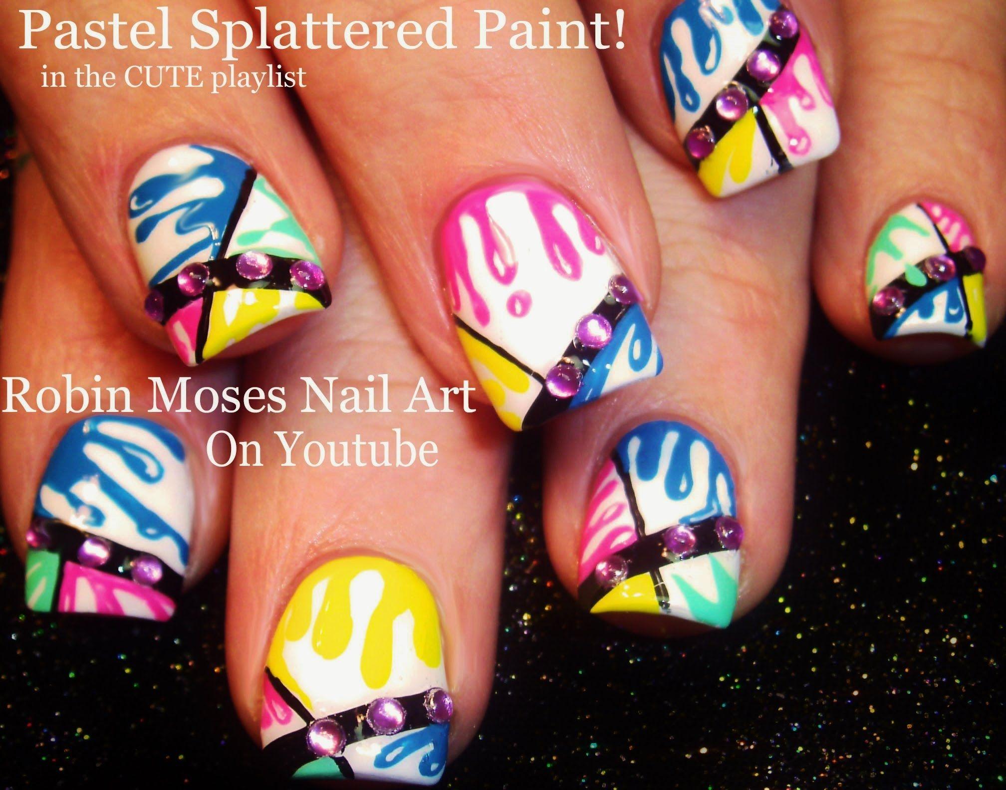 Nail Art | Pastel Splatter Paint NAILS! | Fun Color Dripping Nail ...