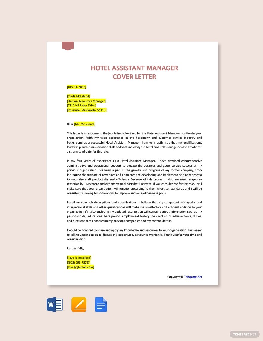 Hotel Assistant Manager Cover Letter Template Free Pdf Word Doc Apple Mac Pages Google Docs Cover Letter Template Free Lettering Cover Letter Template