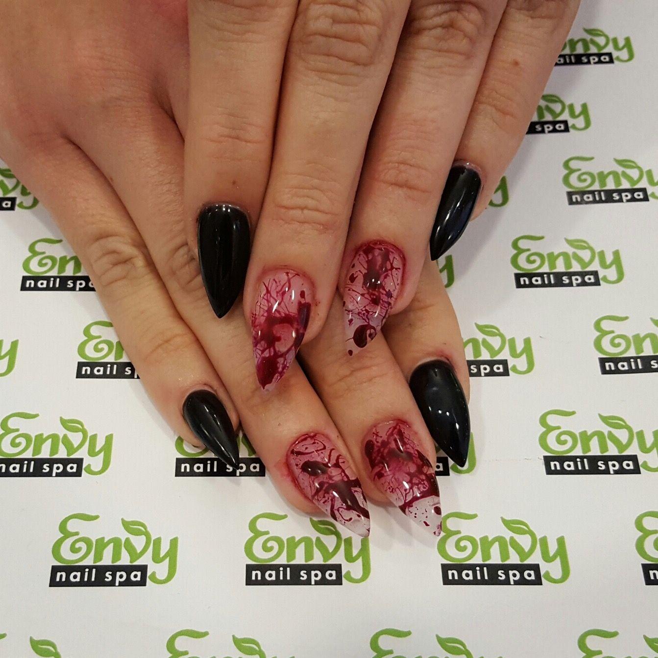 Blood Splatter, Black Nails - Envy Nail Spa | Halloween & The ...