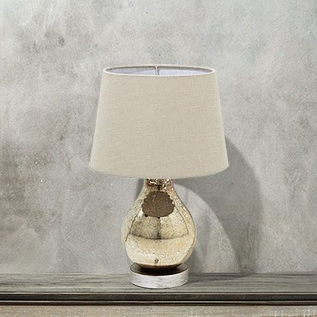 Andromeda small glass table lamp with natural shade in silver arhaus furniture