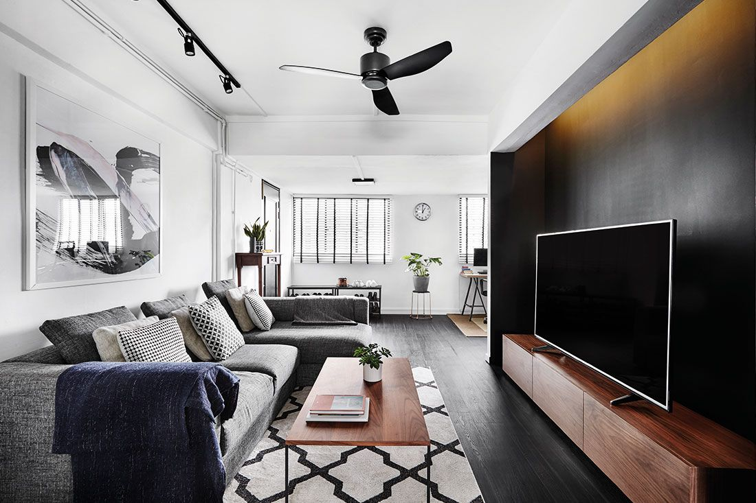 A Chic Black And White 3 Room Resale Flat Interior Design Singapore Interior Design Interior Design Living Room