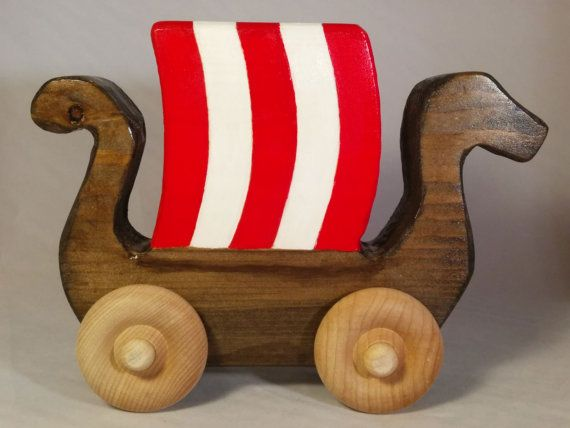 Wood Toy Handmade Viking Ship Dragon Boat Toy For Baby Or Toddler