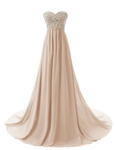 184cdcfead1 Dressystar Strapless Sweetheart Beading Long Evening Dress Gowns Size 14  Champagne Dressystar http